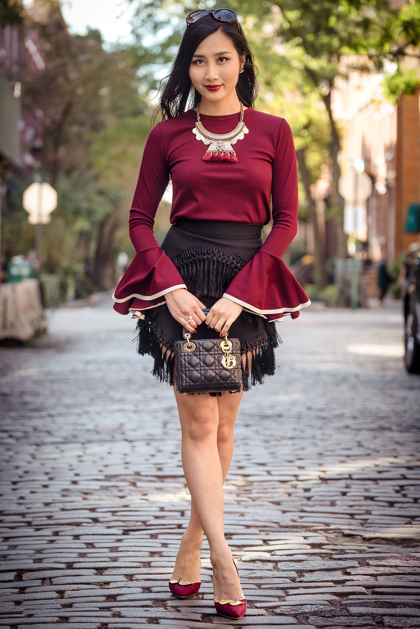 Wear the Trend: Bell Sleeves   Storets Wide Cuff Knit Top   Storets Tassel Skirt   Of Leather and Lace   A Fashion Blog by Tina Lee