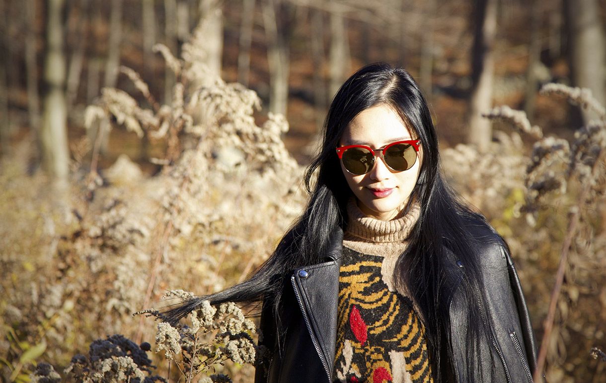 of leather and lace blog carin sunglasses, chloe chen lace up leather jacket, h&m oversized tiger turtleneck sweater