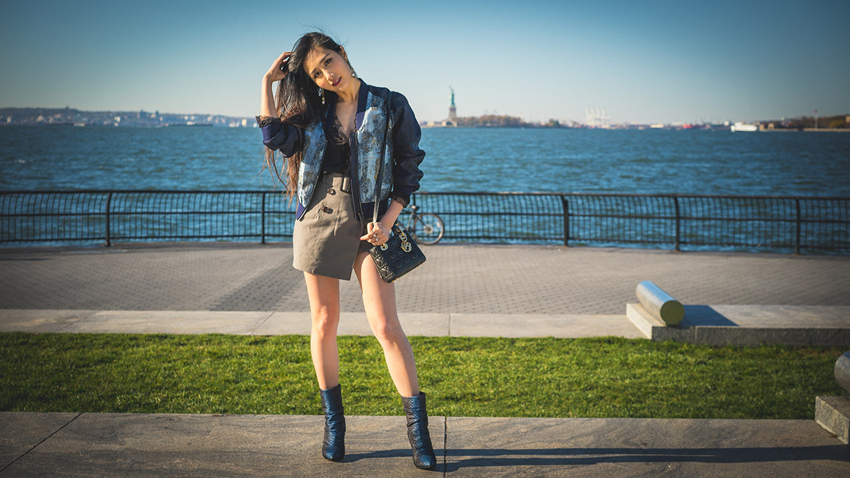 of leather and lace blog by tina lee chloe chen bomber jacket at battery park waterfront