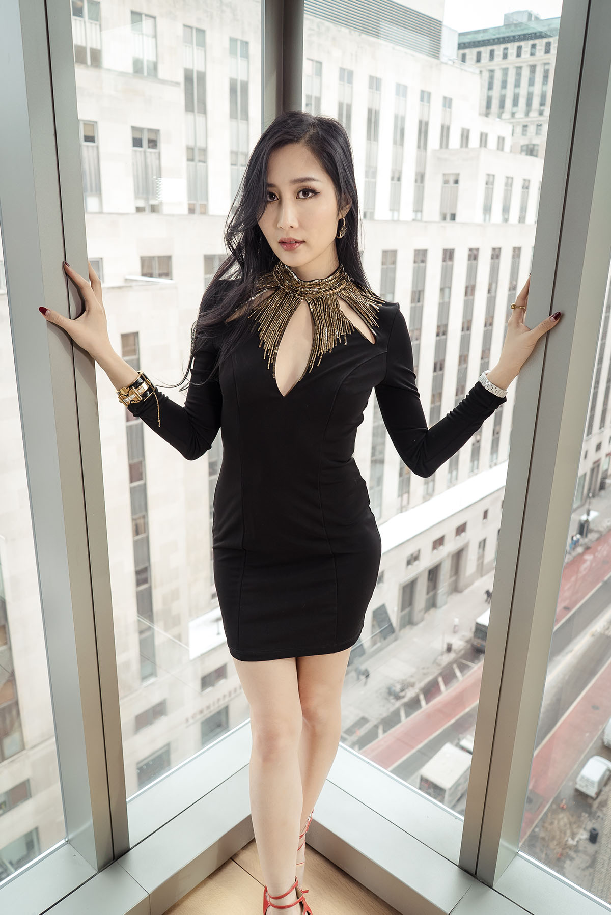 How to Dress for a Party in NYC | Bebe Mock Neck Sequined Dress | CC Skye Cuff | Of Leather and Lace